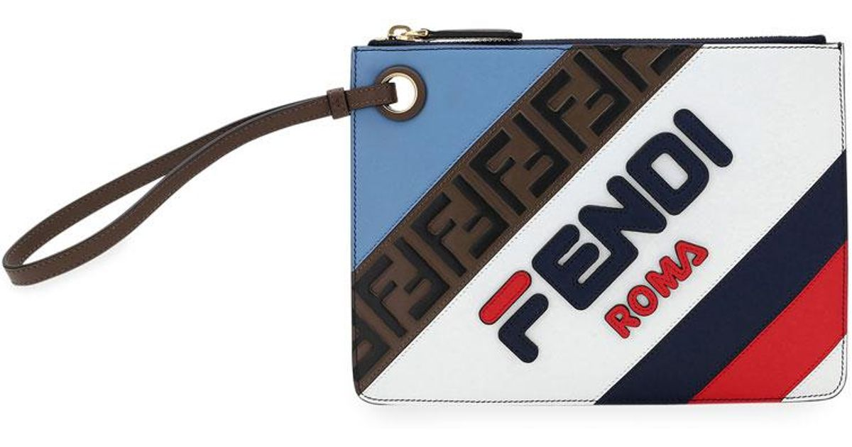 8e0ae5f0add7 Lyst - Fendi Mania Small Triplette Clutch in Blue