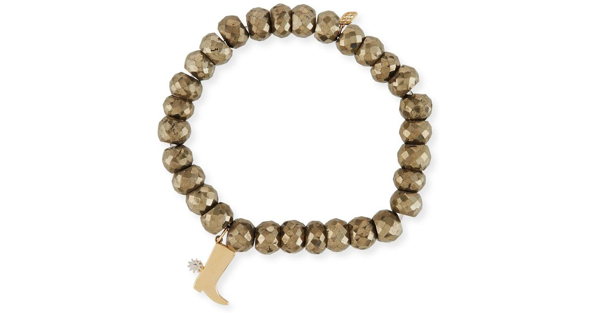 Sydney Evan 8mm Champagne Pyrite Beaded Bracelet with Diamond Double Heart Charm wks1uu