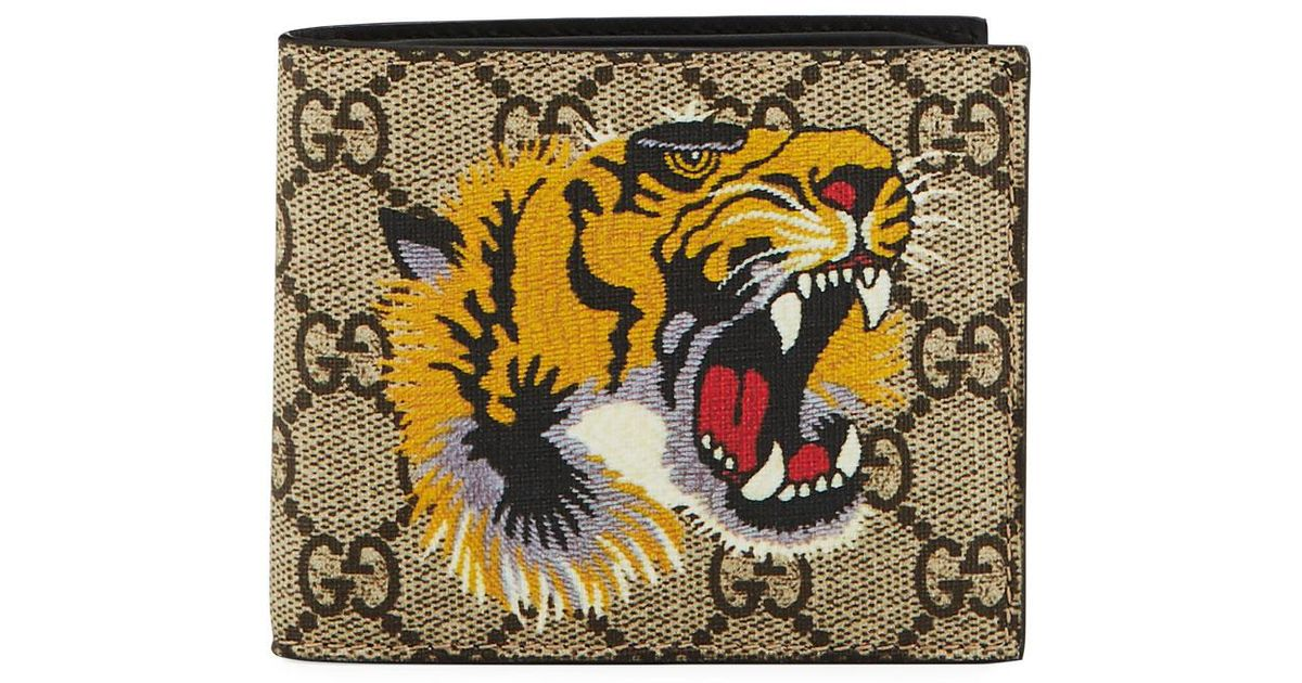 278db7f7239 Lyst Gucci Bestiary Tiger Print Gg Supreme Wallet In Natural For Men