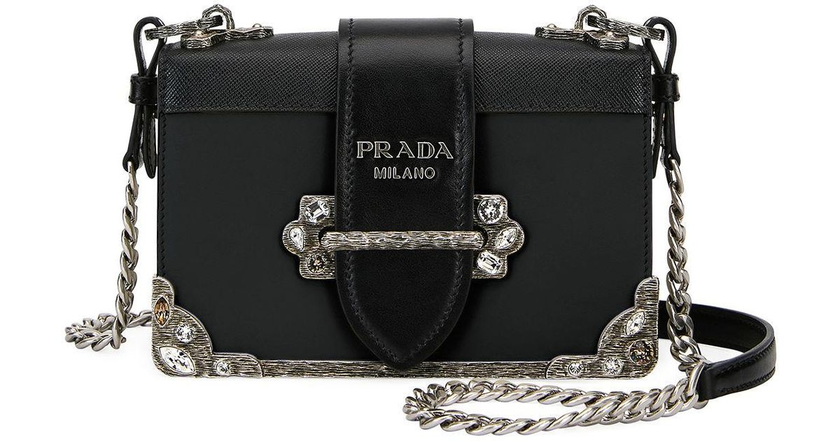 f315cd2adb75 Lyst - Prada Embroidered Small Cahier Crossbody Bag in Black