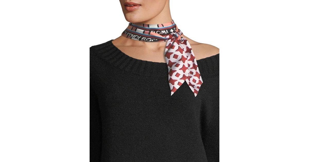 97fb25c33b00d ... france lyst fendi double sided wrappy skinny silk scarf in blue 15fee  6a617