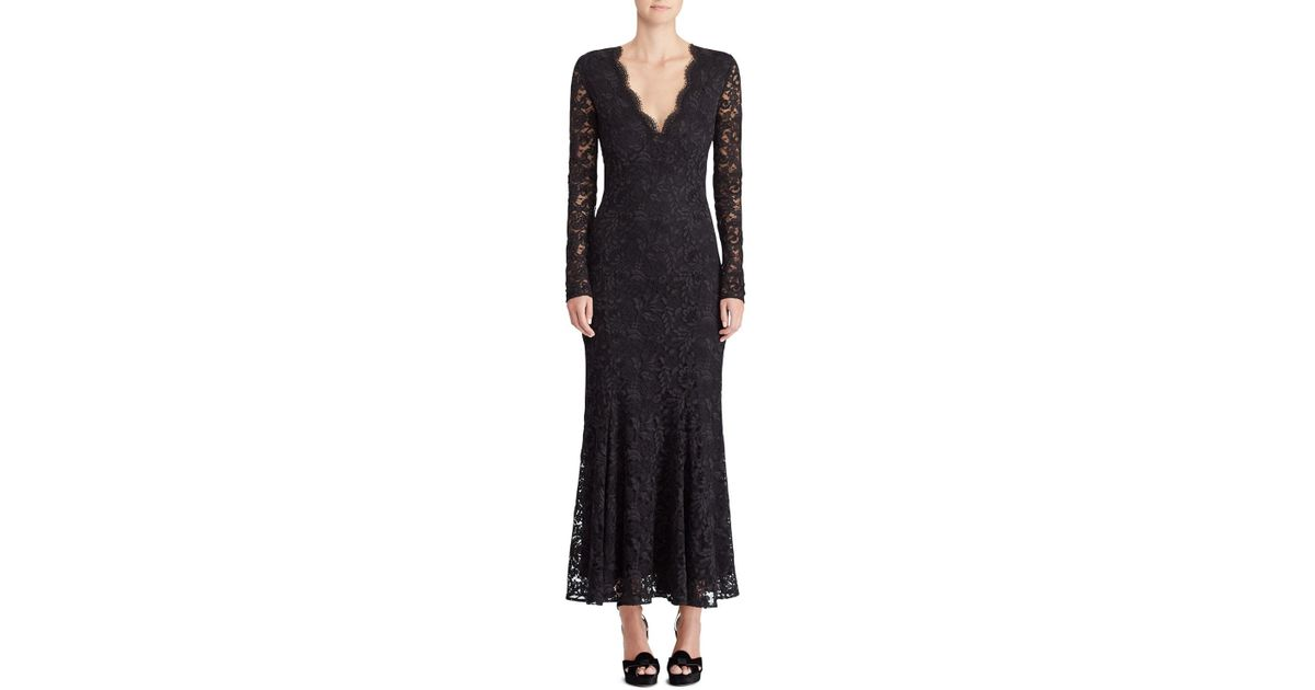 14bc88fc4b4 Lyst - Ralph Lauren Collection 50th Anniversary Estella V-neck Long-sleeve  A-line Lace Evening Gown in Black