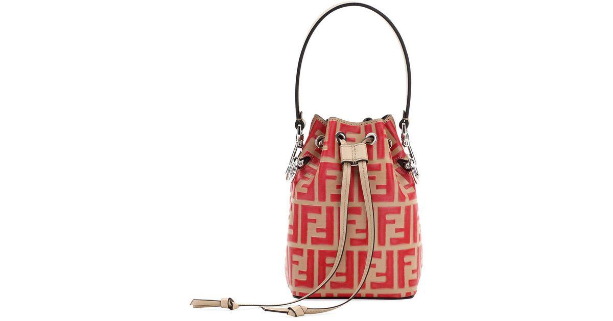 8c846c9296b0 Fendi Mon Tresor Small Ff Bucket Bag in Red - Lyst