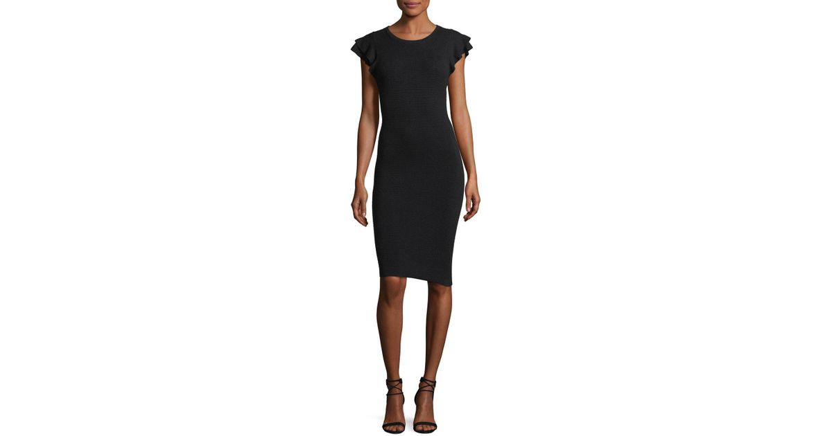 1ed7c0fc5c7 Lyst - Alice + Olivia Kellin Ruffle-sleeve Fitted Sweaterdress in Black