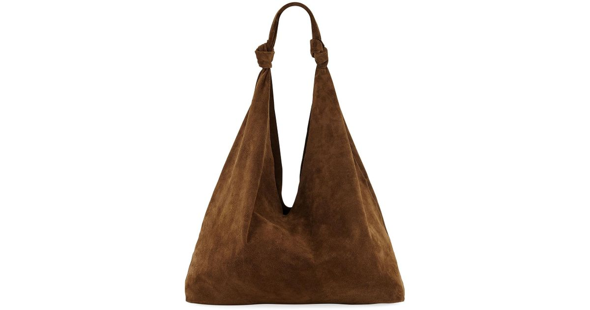 7cb25fdfc58f Lyst - The Row Bindle Double-knots Suede Hobo Bag in Brown