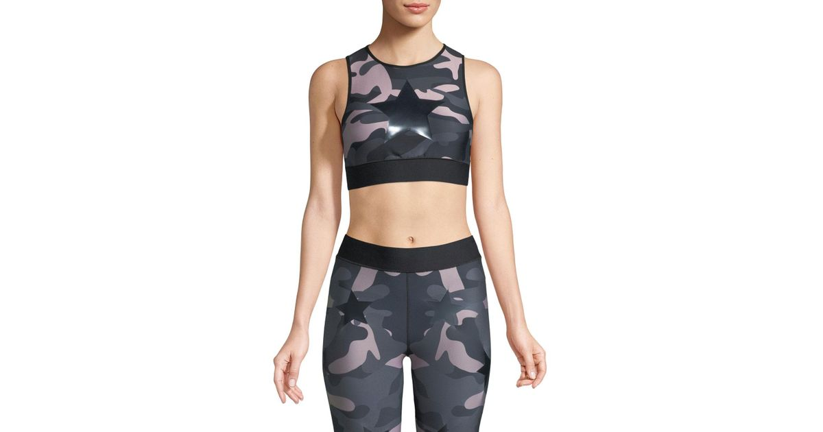 24d5737135ff8 Lyst - Ultracor Level Camo-print Knockout Crop Top in Blue