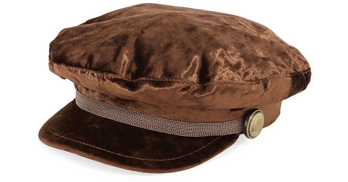 e239ed1ffb0 Brunello Cucinelli Velvet Driving Hat W  Monili Trim in Brown for Men - Lyst