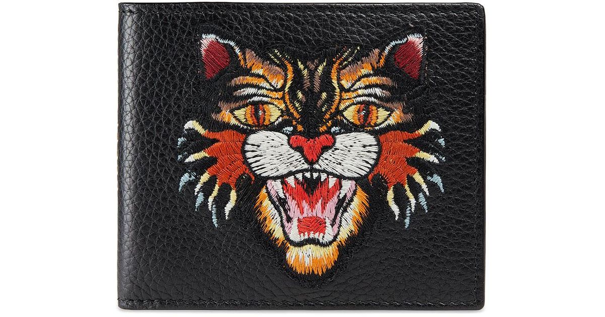 d60866cabfaf Gucci Angry Cat Embroidered Leather Wallet in Black - Lyst