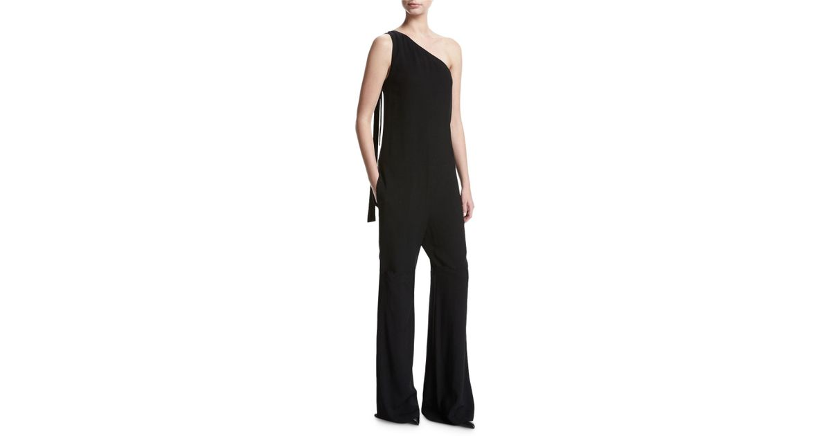 25efe55723e7 Lyst - Theory Eilidh Rosina Crepe One-shoulder Jumpsuit in Black