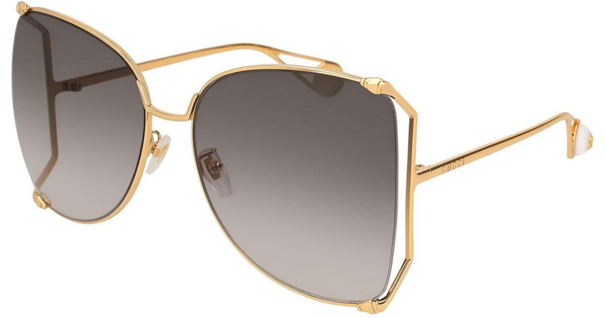 12098ea48d Gucci Oversized Metal Butterfly Sunglasses Gold gray in Metallic - Lyst