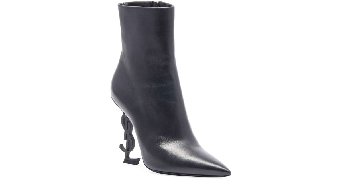 3bd0f0348df Saint Laurent Opyum Leather Booties With Monogram Ysl Heel in Black - Save  1% - Lyst