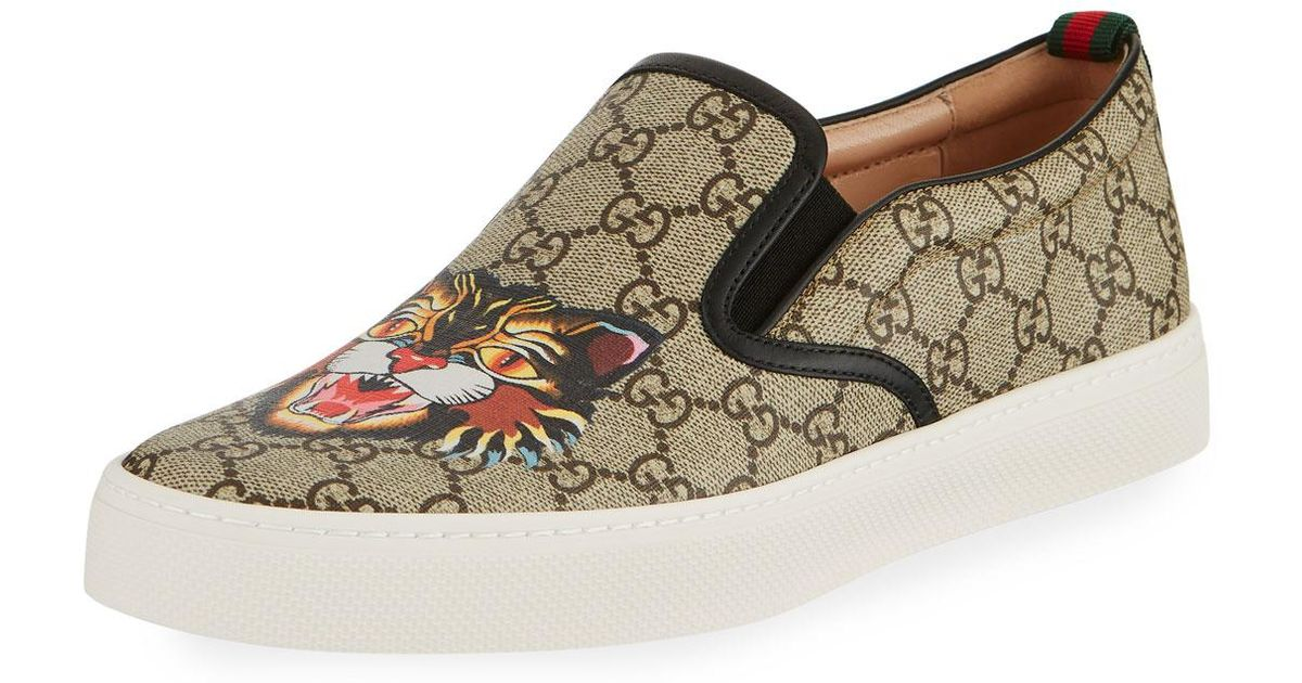 d2a198fcc Gucci Dublin Gg Supreme Angry Cat Slip-on Sneaker - Lyst