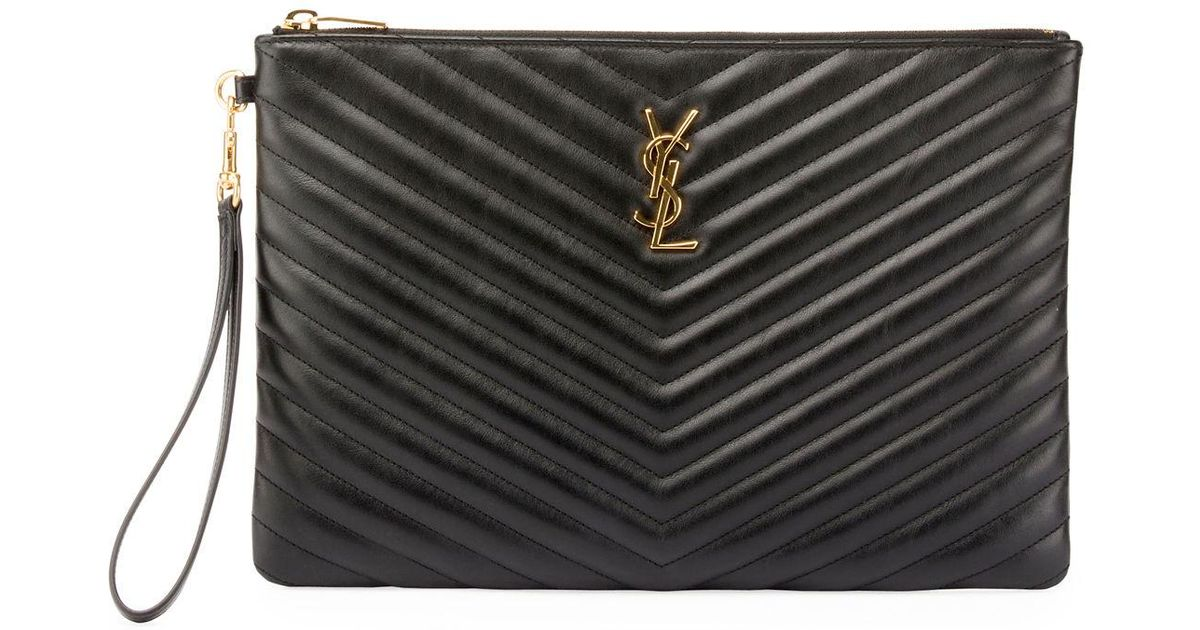 48ea23bc40 Lyst - Saint Laurent Monogram Ysl Quilted Leather Tablet Pouch Bag in Black