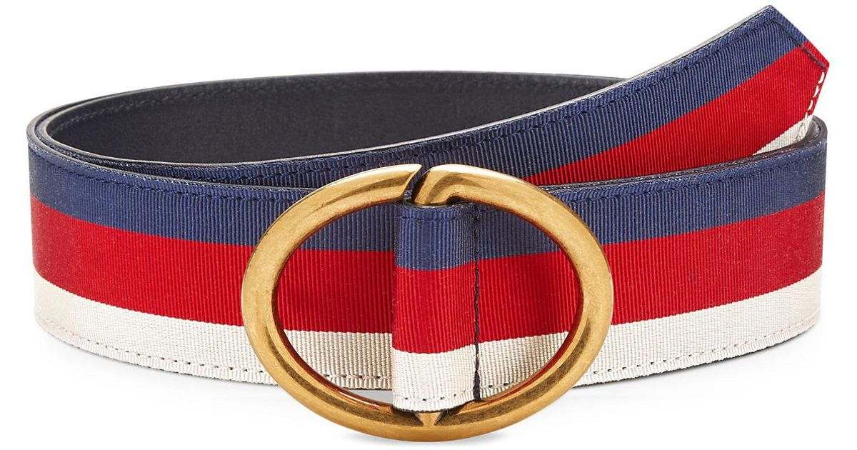 66b549397a8 Lyst - Gucci Men s Web Belt With Gold Buckle in Blue for Men