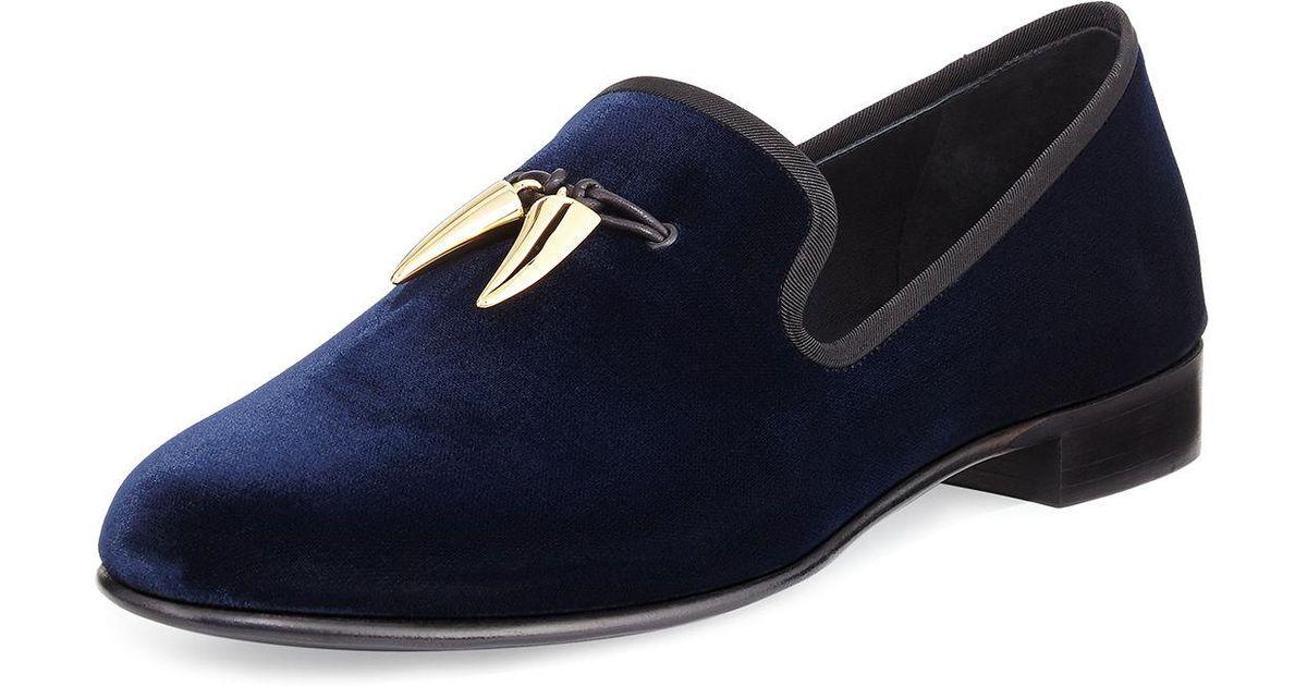 280ff2f146ebb Giuseppe Zanotti Velvet Formal Loafer With Golden Horns in Blue for Men -  Lyst