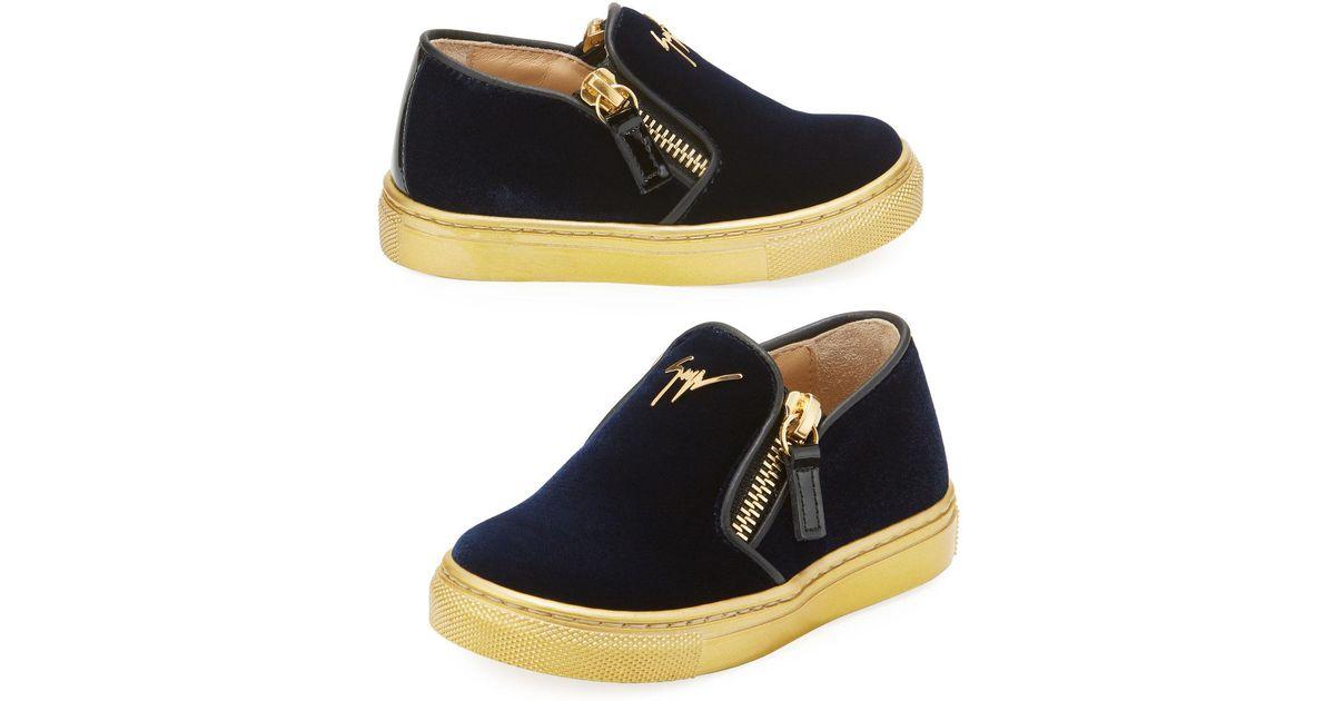 29dd8cfc2ddc4 Lyst - Giuseppe Zanotti Girls' London Laceless Velvet Low-top Sneaker in  Blue