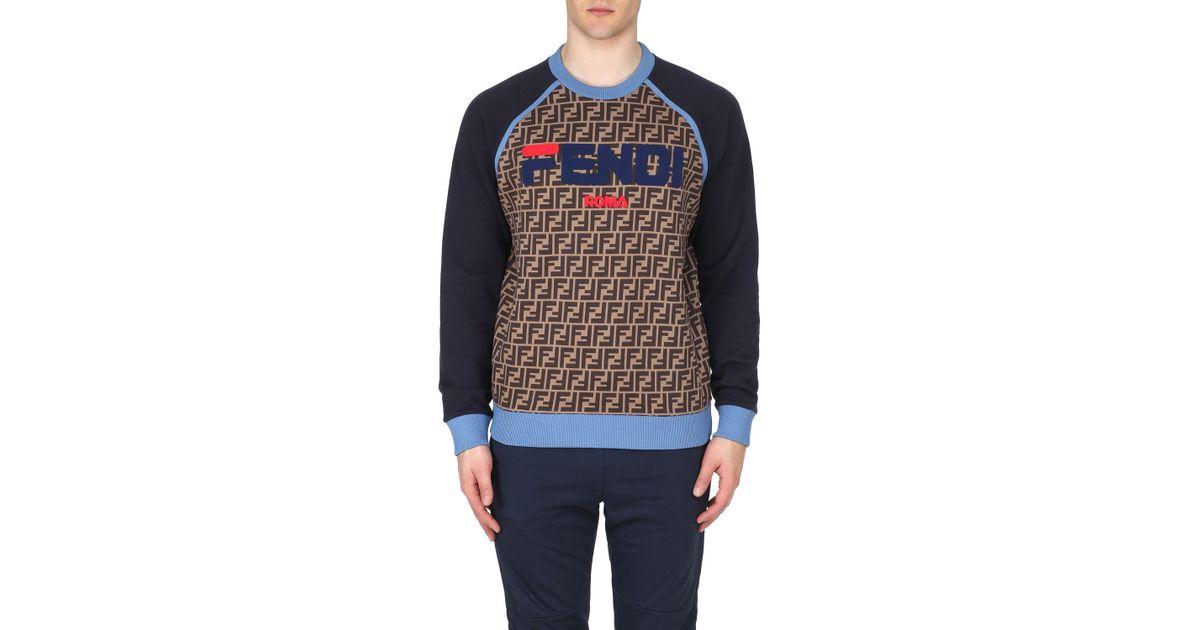 e8f2b6de8c90 Lyst - Fendi Men s Baseball Crewneck Sweatshirt in Blue for Men