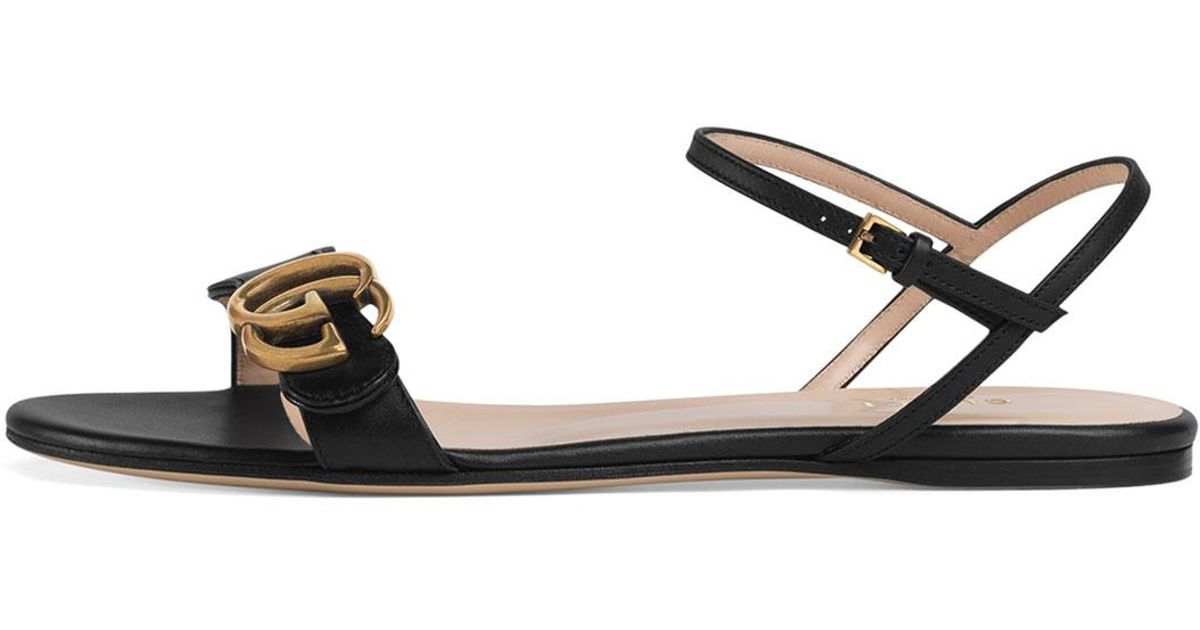 defbe970fb06 Lyst - Gucci Marmont Flat Double-g Leather Sandals in Black