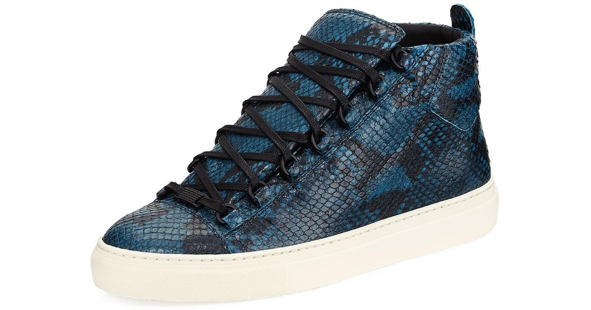 61fb432dc6b3 Lyst - Balenciaga Men s Arena Python-embossed Leather High-top Sneaker in  Blue for Men