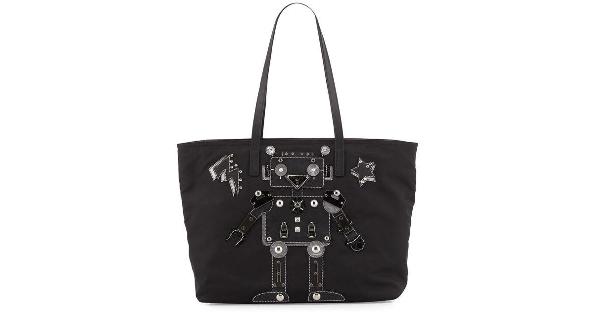 a5eecf693392 ... shop lyst prada medium nylon robot tote bag in black 2b436 cc625