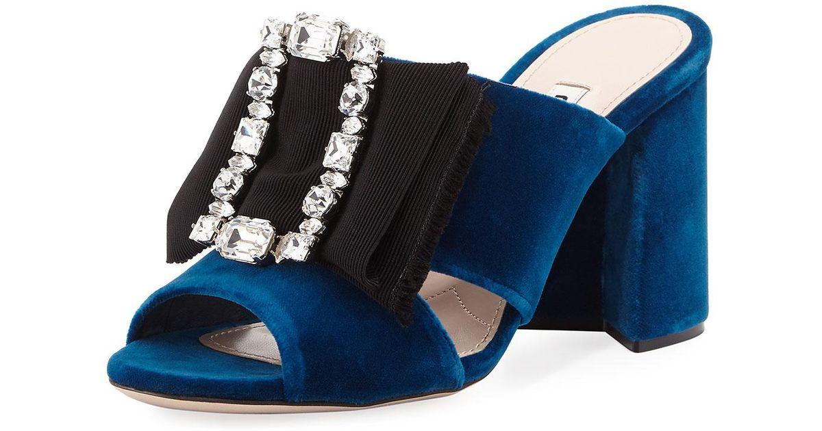 4ccd3edae7d Lyst - Miu Miu Miu Embellished Velvet Sandals in Blue