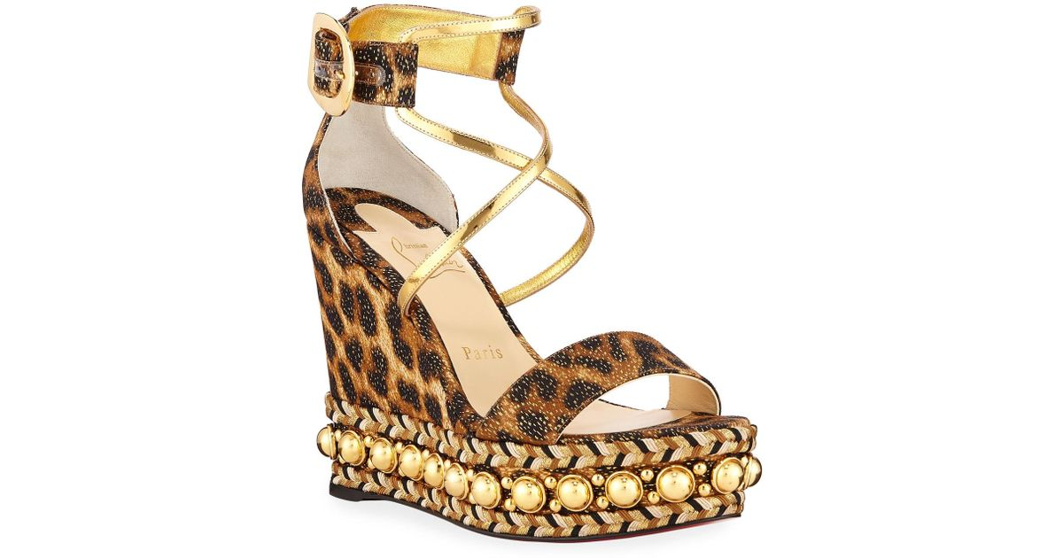 2d811697239 Lyst - Christian Louboutin Chocazeppa Leopard Wedge Red Sole Espadrille  Sandals in Brown