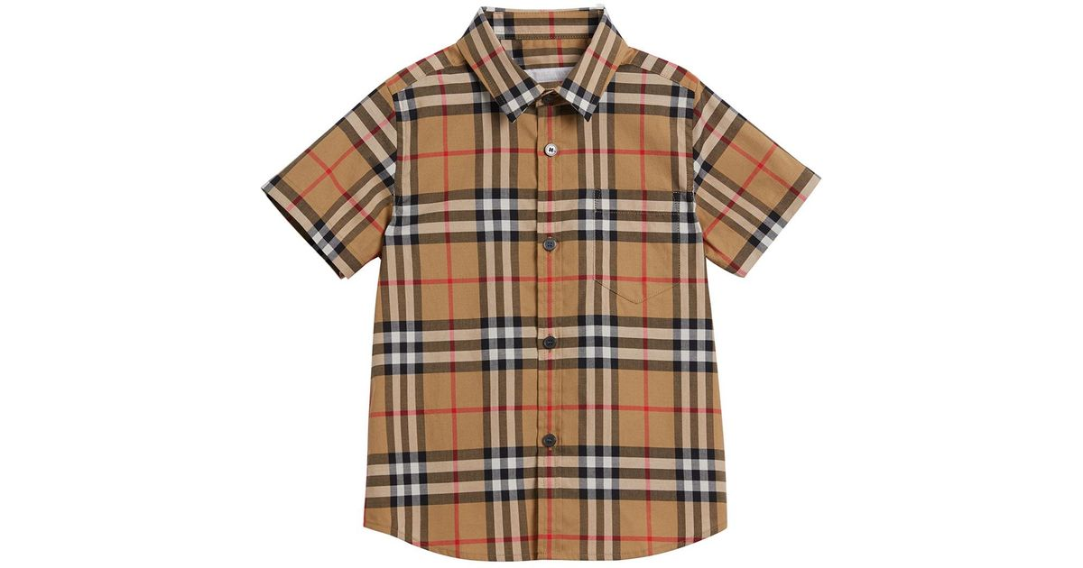 8b545a8162 Burberry Fred Short-sleeve Check Shirt in Natural for Men - Lyst