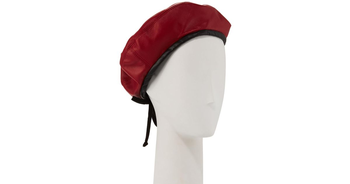 6b6cc4dfb4abe Lyst - Eric Javits Kate Two-tone Leather Beret in Black