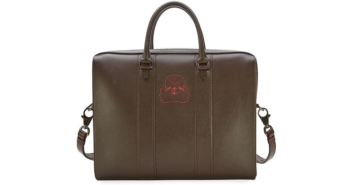 cd51b01ab1ad Lyst - Christian Louboutin Streetwall Leather Briefcase in Brown