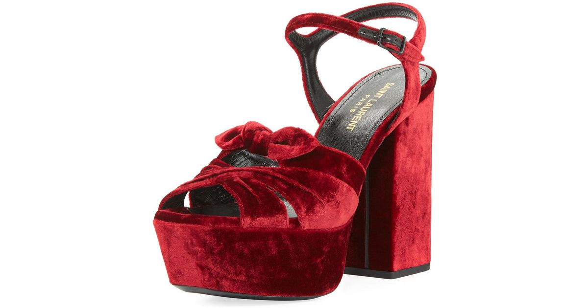 ecb54a899b Lyst - Saint Laurent Farrah Velvet Platform Sandal in Red