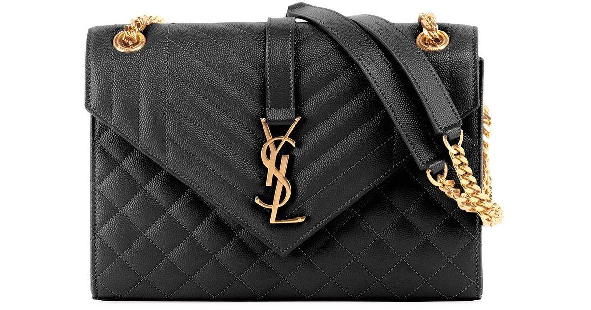 Saint Laurent V Flap Monogram Ysl Medium Envelope Chain Shoulder Bag -  Golden Hardware in Black - Lyst f18969d382913