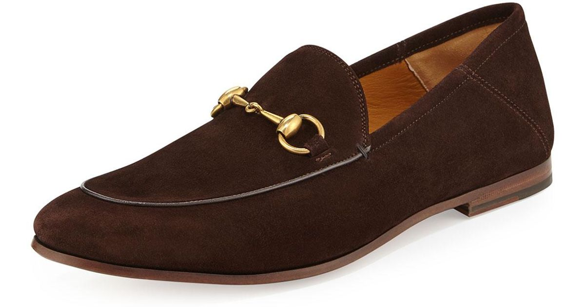 c835ba7258c Lyst - Gucci Brixton Suede Horsebit Loafer in Brown