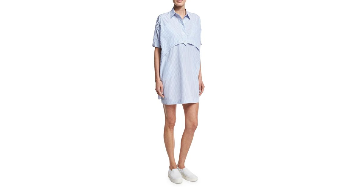 025492062 Opening Ceremony Short-sleeve Striped Poplin Shirtdress in Blue - Lyst