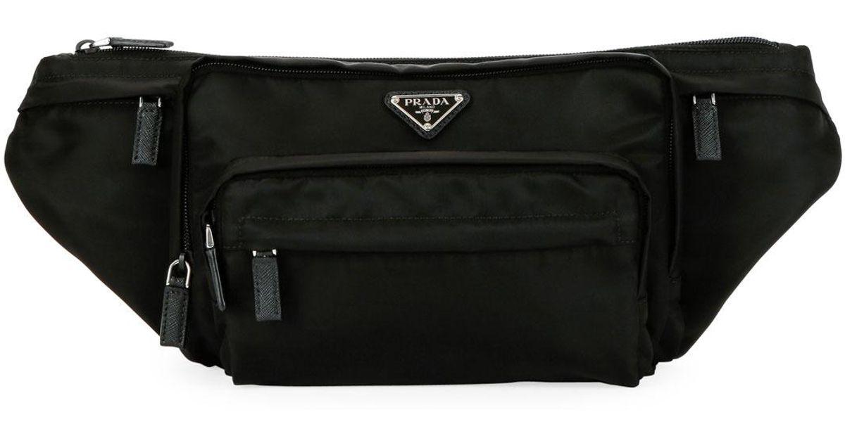 dc9d26f48beb Prada Men's Tessuto Fanny Pack Bag in Black for Men - Lyst