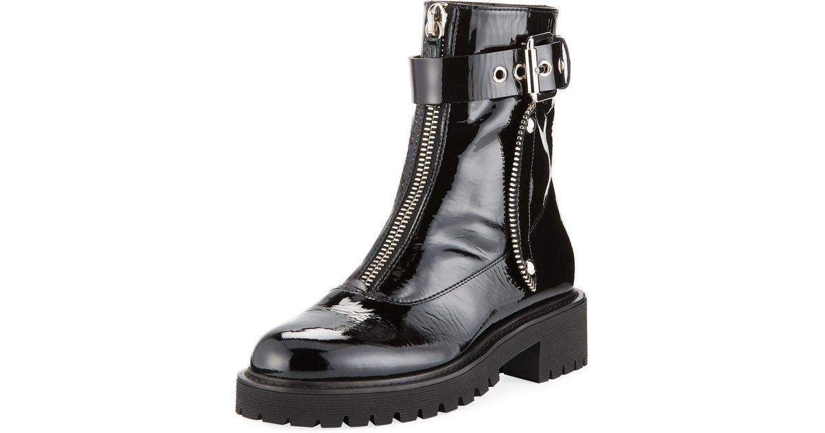 e1e3f798c50a7 Lyst - Giuseppe Zanotti Patent Leather Front-zip Combat Boots in Black