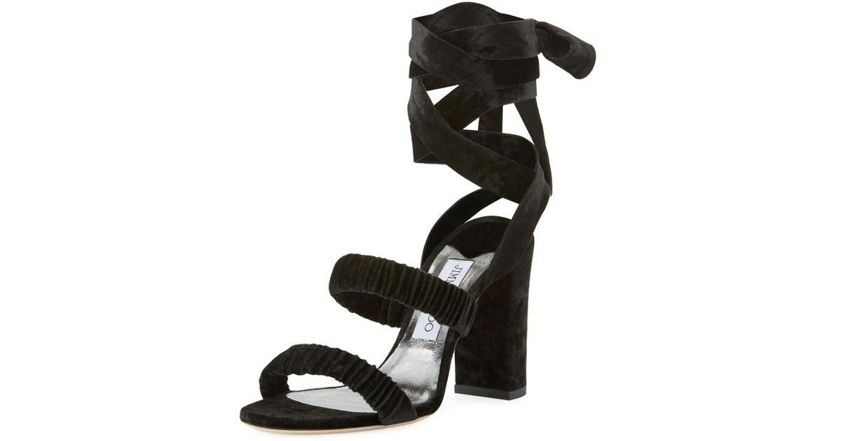 59e03b6e97f8 Jimmy Choo Marcella Velvet Ankle-wrap Sandal in Black - Save 37% - Lyst