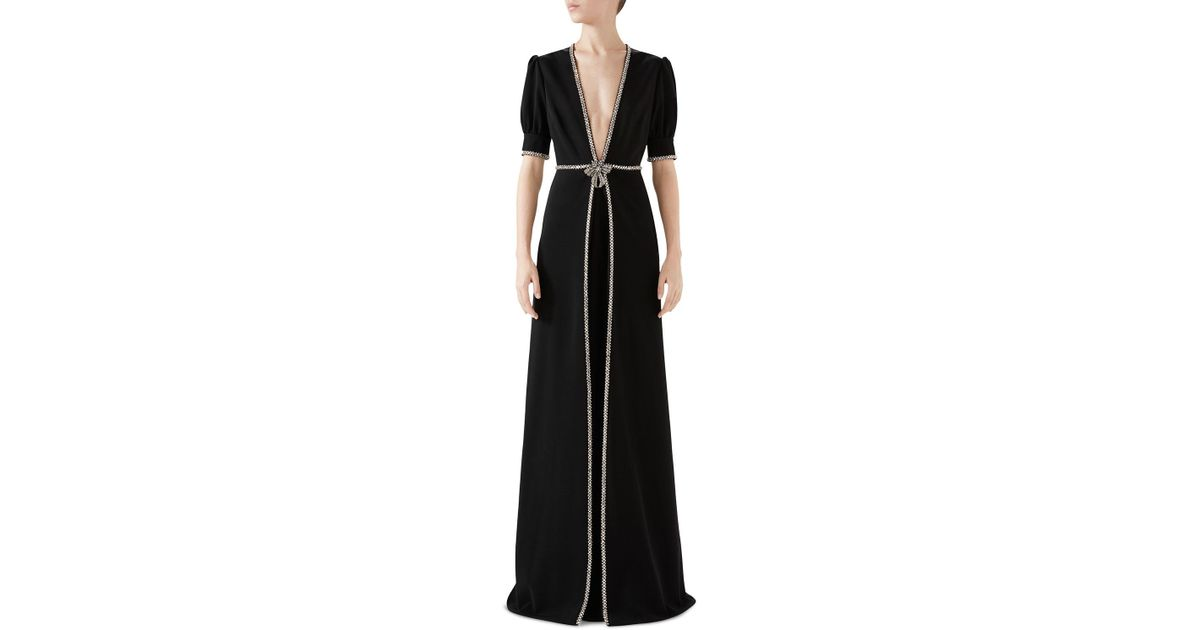 35f3de8a7 Gucci Deep-v Short-sleeve A-line Embellished Stretch-jersey Evening Gown in  Black - Lyst