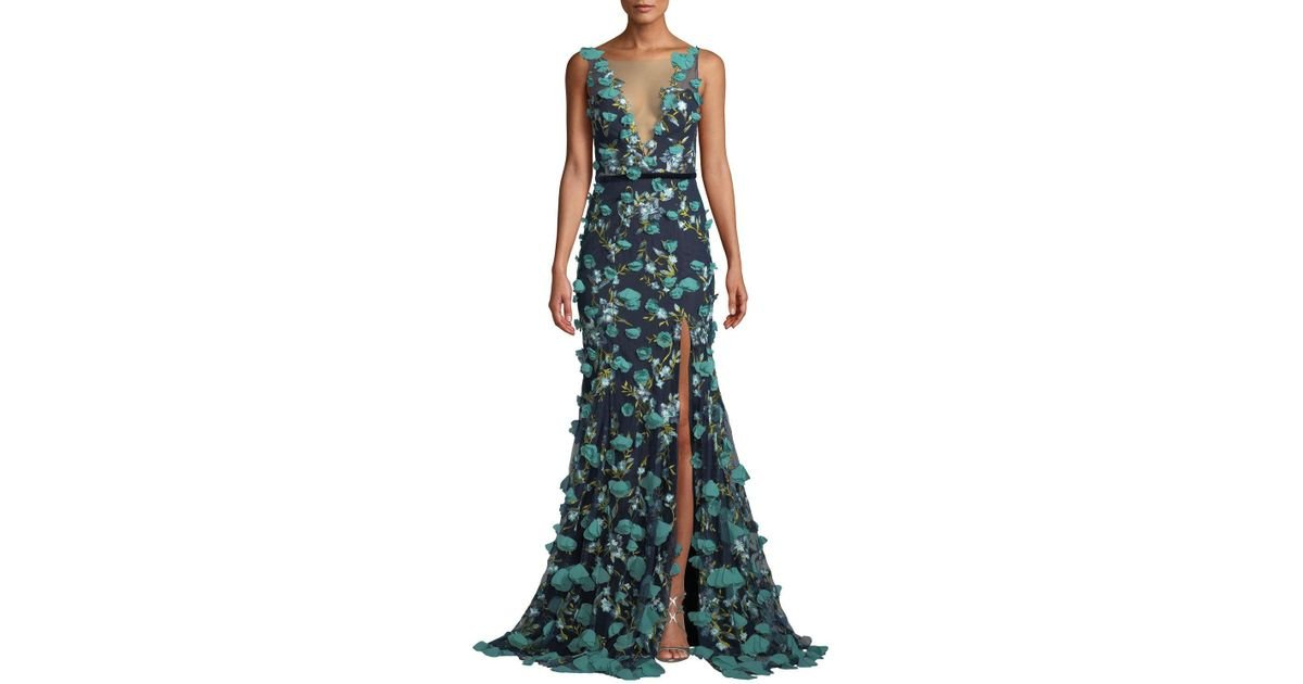 afba0dd3aeb Marchesa notte Plunging-illusion 3d Flower Trumpet Gown in Blue - Lyst