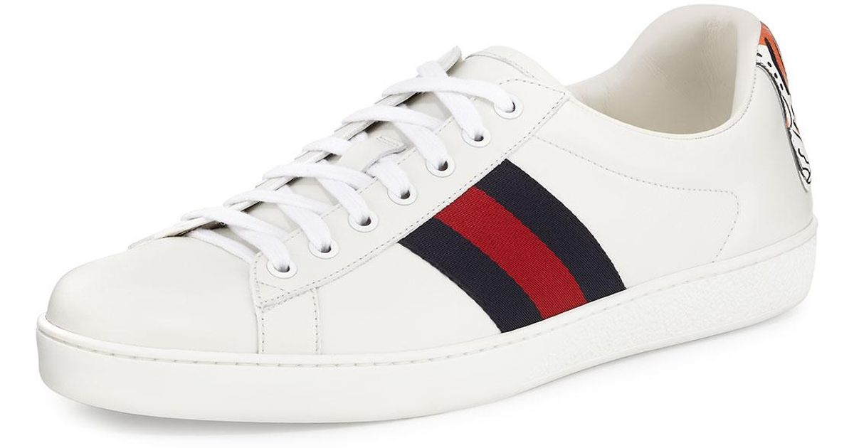 7fb1c6721b31 Lyst - Gucci New Ace Hanging Tiger Leather Low-top Sneaker in White