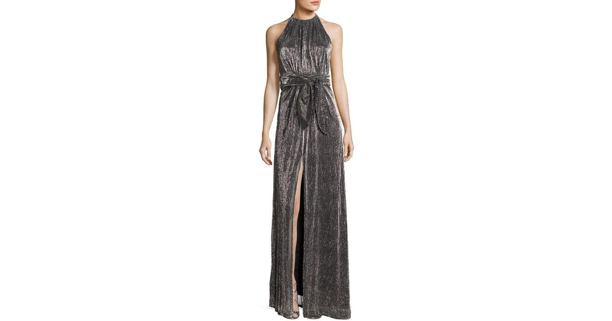 12d0e677b4a764 Lyst - Halston Heritage Sleeveless Halter-neck Textured Metallic Evening  Gown in Metallic