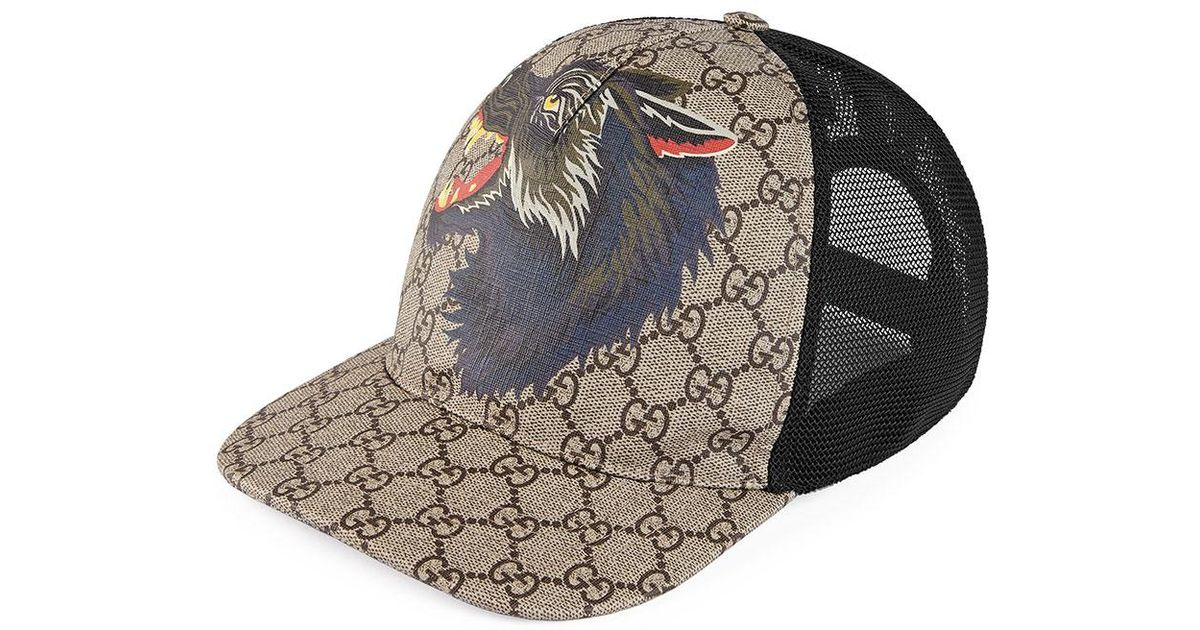 Gucci Wolf GG Supreme Canvas Baseball Cap in Brown for Men - Lyst 9c5c8ff3826