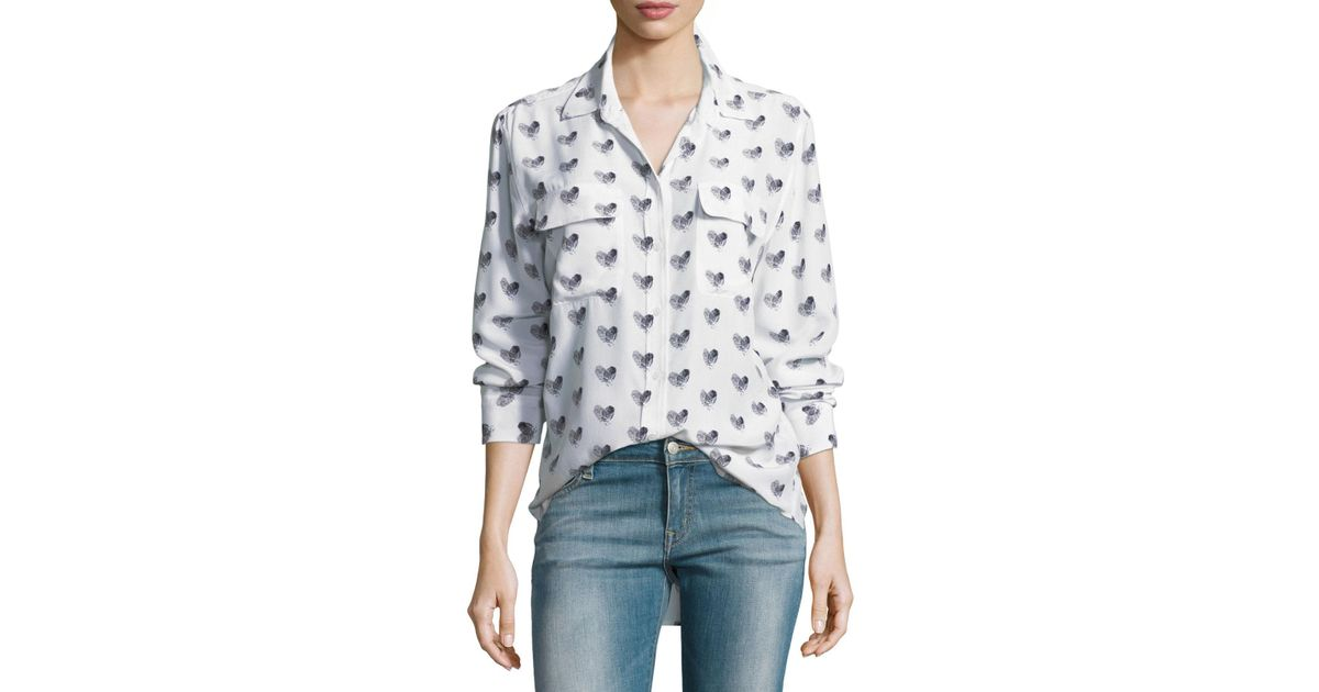 ebced9674d1c0 Lyst - Equipment Heart-print Button-front Silk Signature Shirt in White