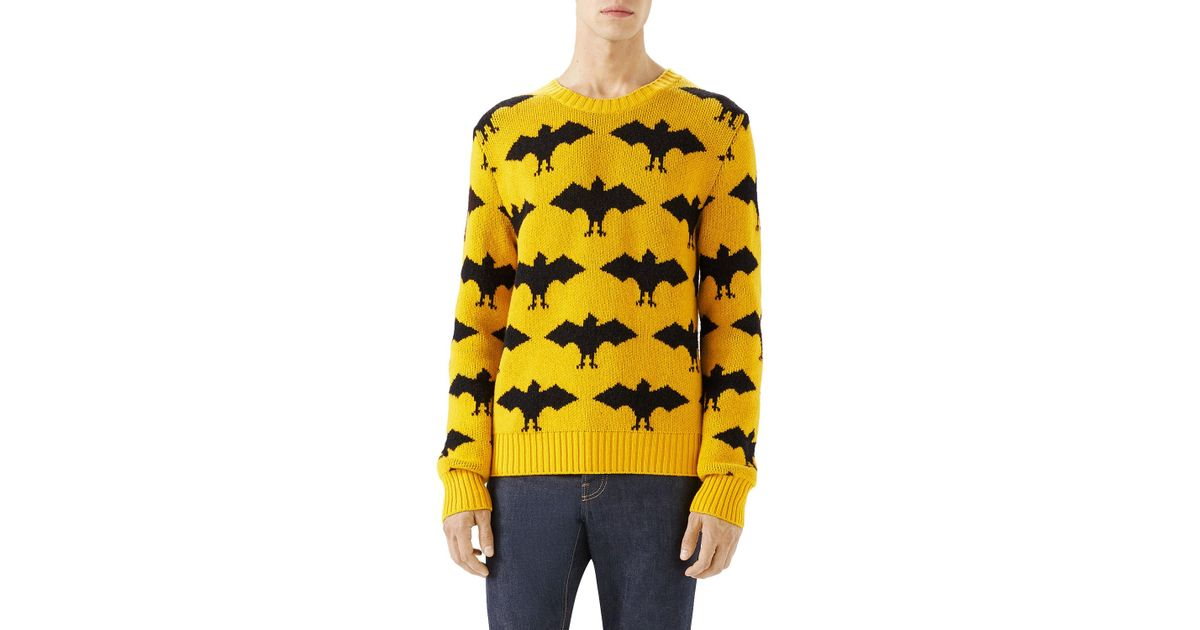 lyst gucci bat crewneck sweater in yellow for men