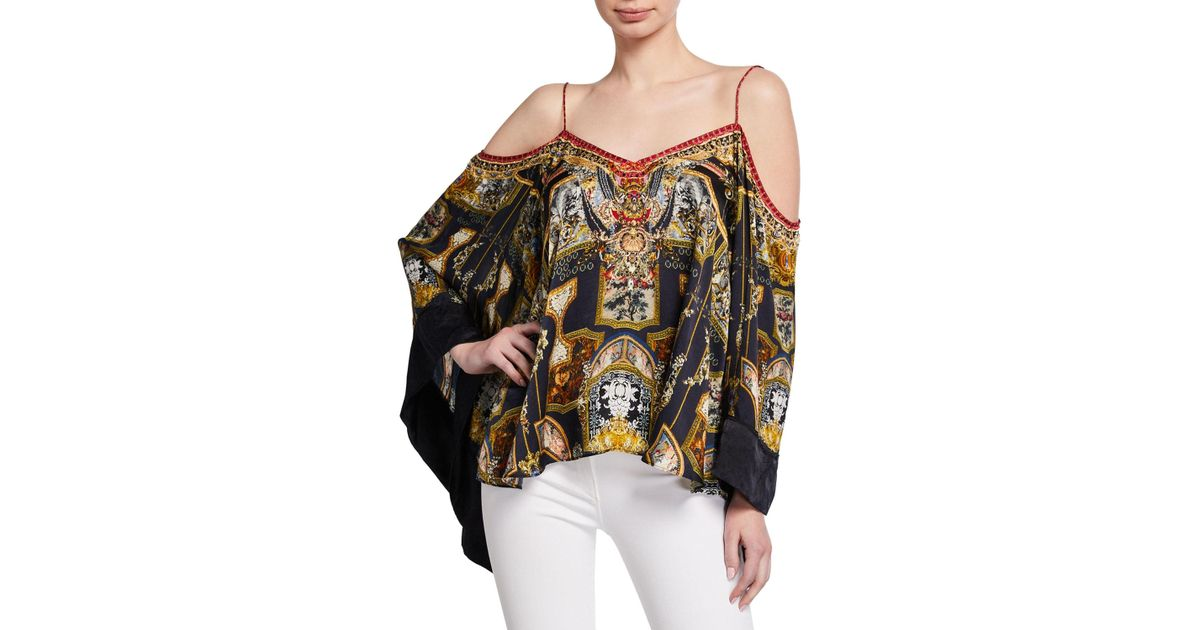 c363b08533284 Lyst - Camilla Printed Flare-sleeve Cold-shoulder Top in Black