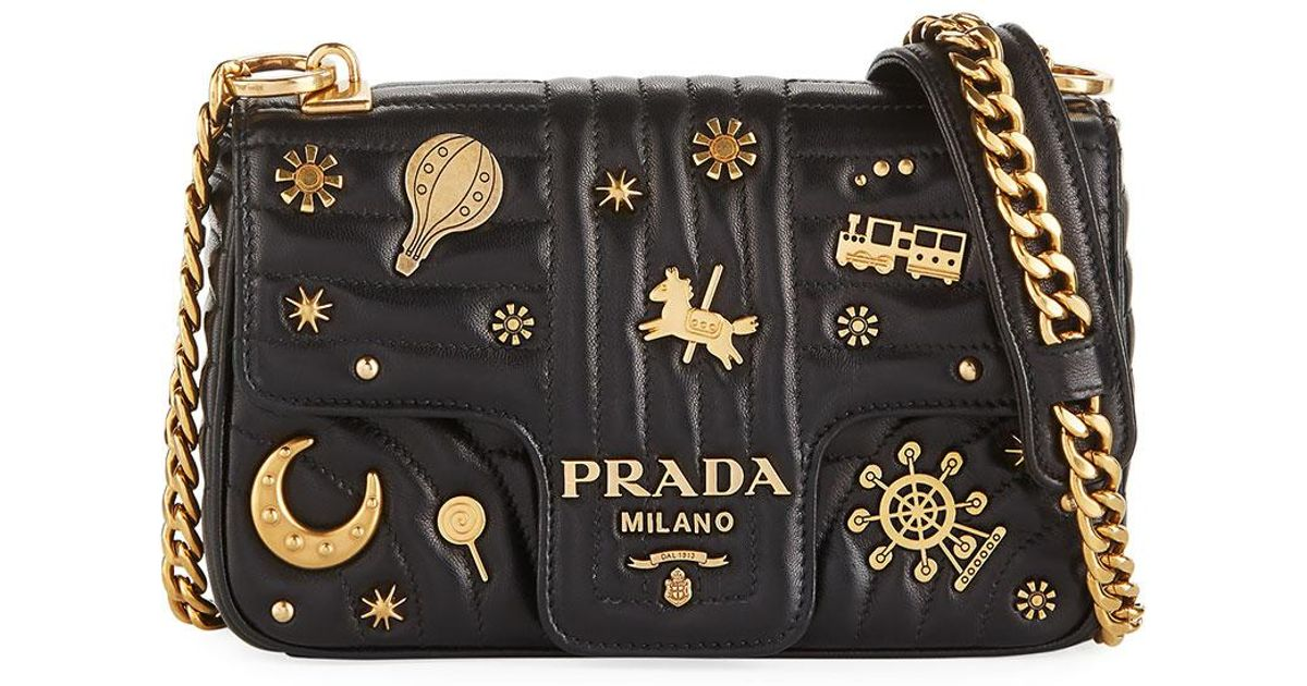 57111728ab Prada Small Embellished Diagramme Shoulder Bag With Chain Strap in Black -  Lyst