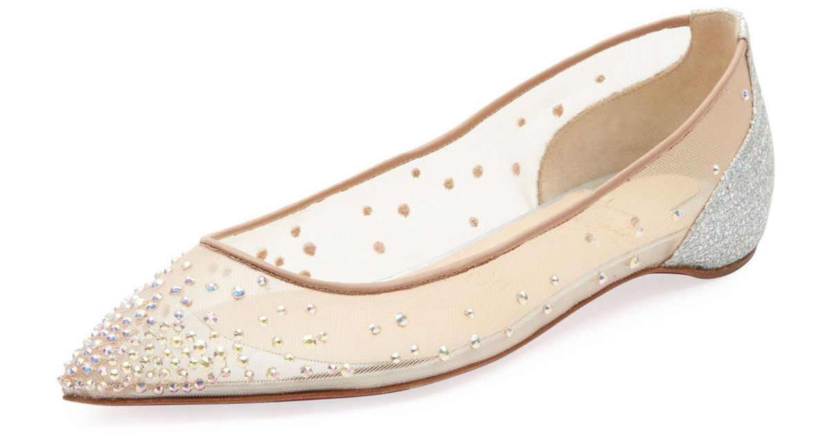 4138899648 Christian Louboutin Follies Strass Mixed Red Sole Flats in Natural - Lyst