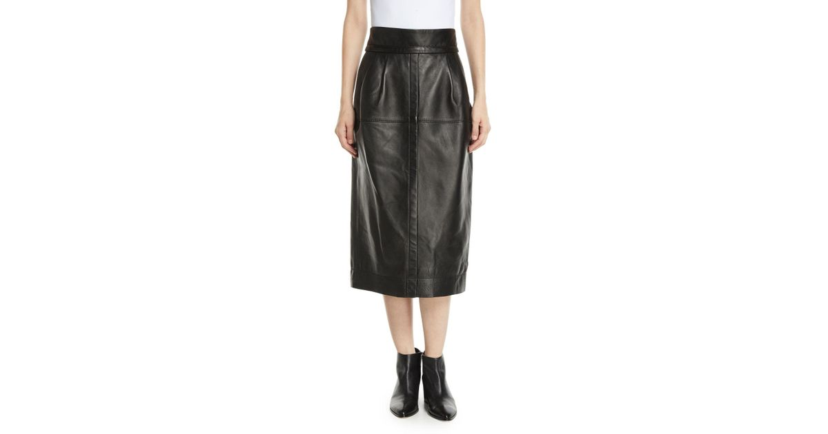 bc57036b76 Marc Jacobs High-waist A-line Midi Lamb Leather Skirt in Black - Save 30% -  Lyst