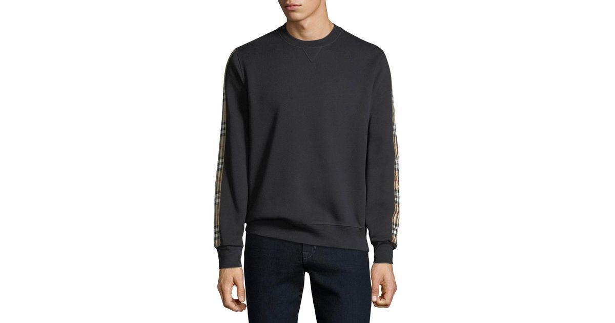 b9fa486fd37d Lyst - Burberry Men s Camilla Check-striped Sweatshirt in Black for Men