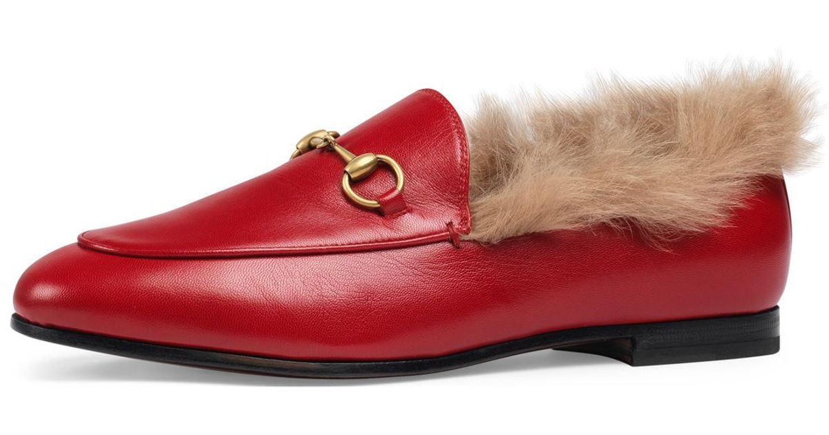 07a6ec6246d Lyst - Gucci Jordaan Fur-lined Leather Loafer Flat in Red