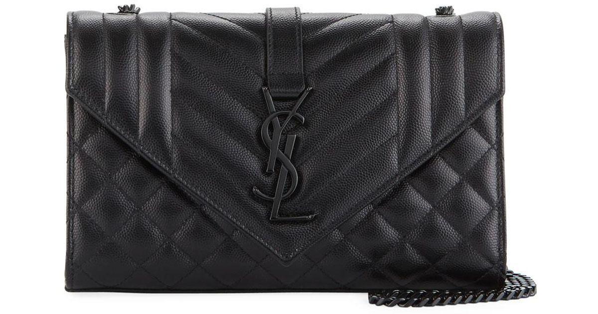 Lyst - Saint Laurent Monogram Ysl Envelope Small Chain Shoulder Bag - Black  Hardware in Black 375eb2517d055